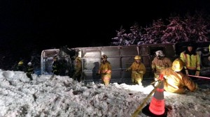 Greyhound Bus Crashes off Coquihalla Highway Carrying 42 Passengers.