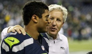 Russell Wilson with Seahawks coach Pete Carroll