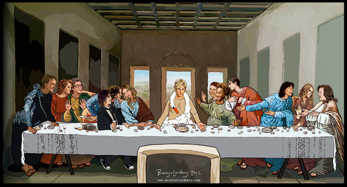 "Ellen DeGenres as Jesus in the ""Last Supper"""
