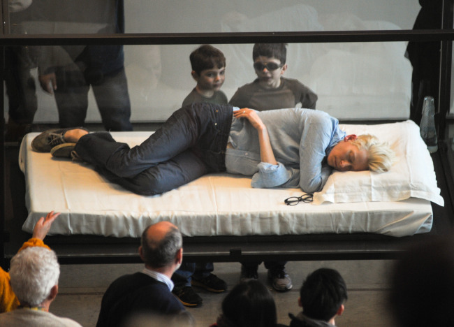 Tilda Swinton Sleeps In Glass Box at MoMa