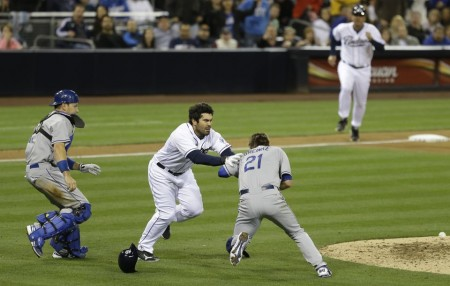 Los Angeles Dodgers defeat the Padres but not before a bench clearing brawl