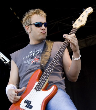 May 17, 2008 Concord, North Carolina - Todd Harrell, bass player for 3 Doors Down, performs at Lowe's Motor Speedway before the running of the Sprint All Star Race in Concord, NC. (Photo by Jared C. Tilton/ASP Inc.)