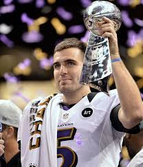 Flacco is seen above celebrating the Ravens Super Bowl XLVII win
