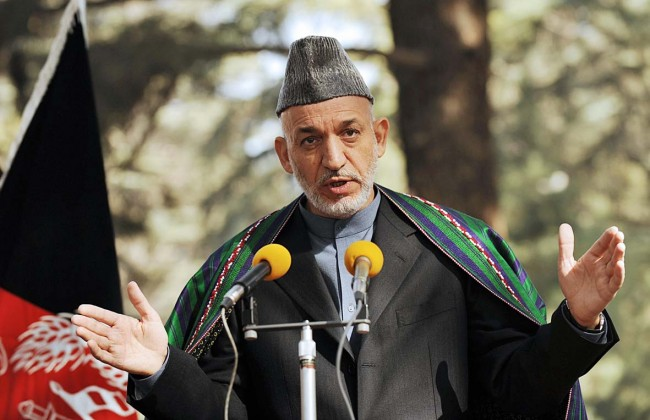 Afghan President Hamid Karzai addresses