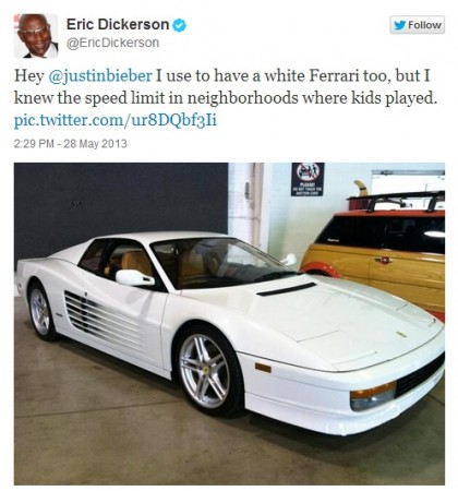 Justin Bieber, Keyshawn Johnson, the Ferrari and the Prius