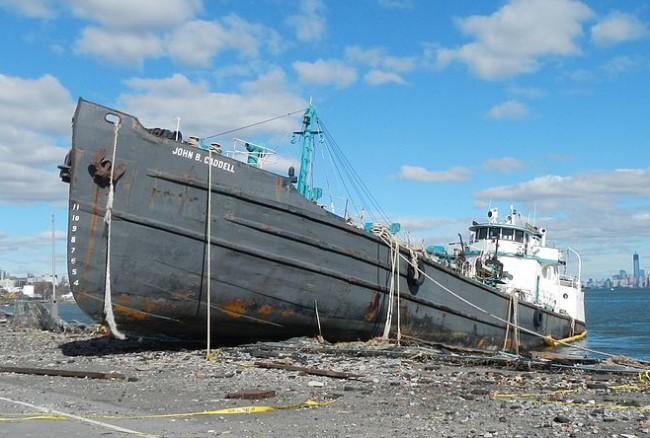 Oil tanker John B. Caddell ran aground on Staten Island during hurricane Sandy