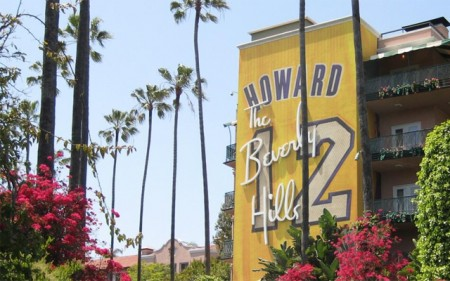 Desperate and begging for Dwight Howard, a photo surfaced on Twitter of the Beverley Hills Hotel painted with Howard's Lakers jersey in an effort to convince him to resign with the team.