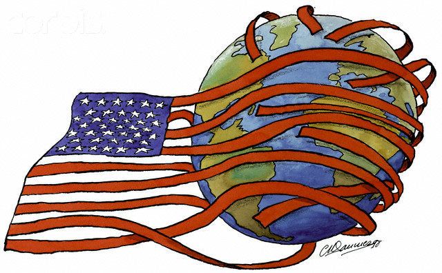 US Flag Around the Earth