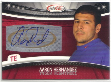 Aaron Hernandez gear, such as this signed trading card, are in high demand following his arrest on charges of murder.