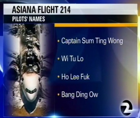 KTVU reads off fake racist names on air.