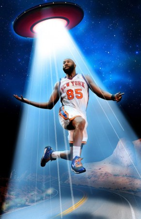 A hilarious recreation by the New York Daily News of Baron Davis alien abduction.