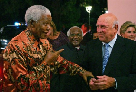 South African Nobel Peace Laureates Mandela and  Archbishop Tutu arrive for birthday celebrations of fellow laureate former President de Klerk in Cape Town