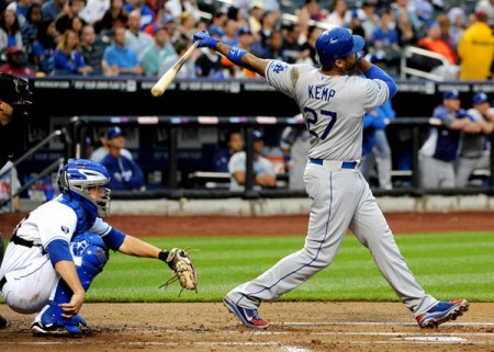 Matt Kemp didn't take long to make an impact after returning from the DL, homering in his first at bat.