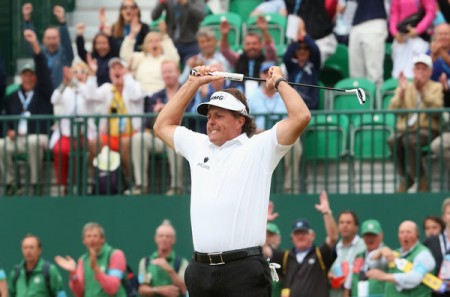 Phil Mickelson reacts to winning his fifth major title at the British Open.