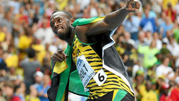 Usain Bolt in his lightning bolt pose