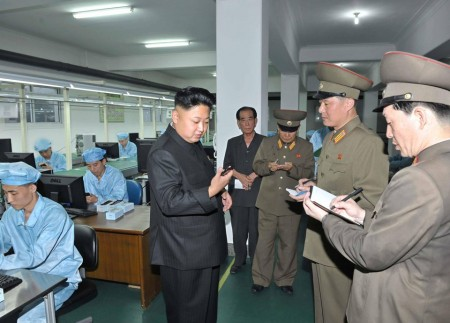 Kim Jong-un visiting facility. Courtesy of KCNA via Reuters.