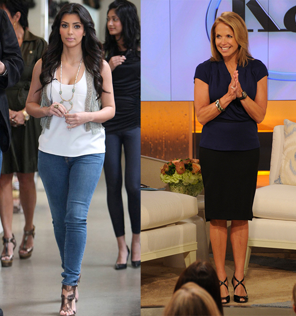 A side by side picture of Kim Kardashian and Katie Couric.