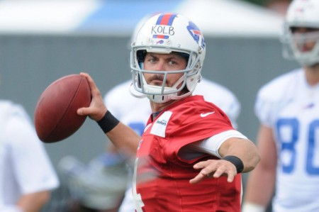Kevin Kolb suffered a freak injury at Bills training camp today, slipping on a wet mat and hurting his knee.