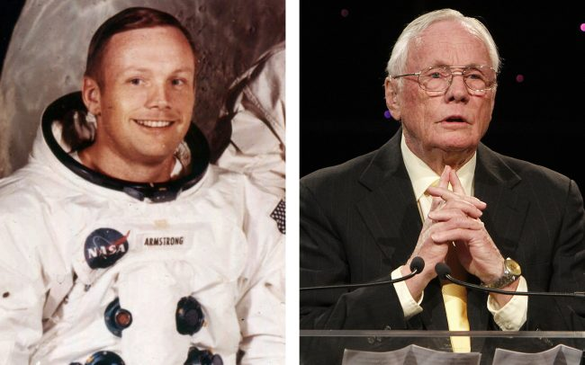 Neil Armstrong before the moon landing and at his last public appearance.