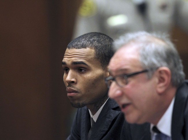 Chris Brown and his attorney in a LA Courtoom