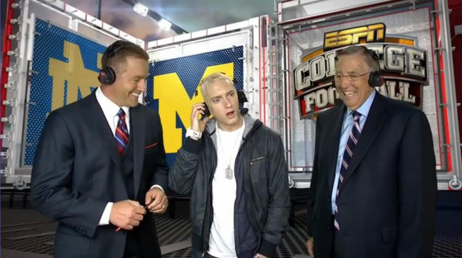 Eminem during the Awkward live ESPN television appearance