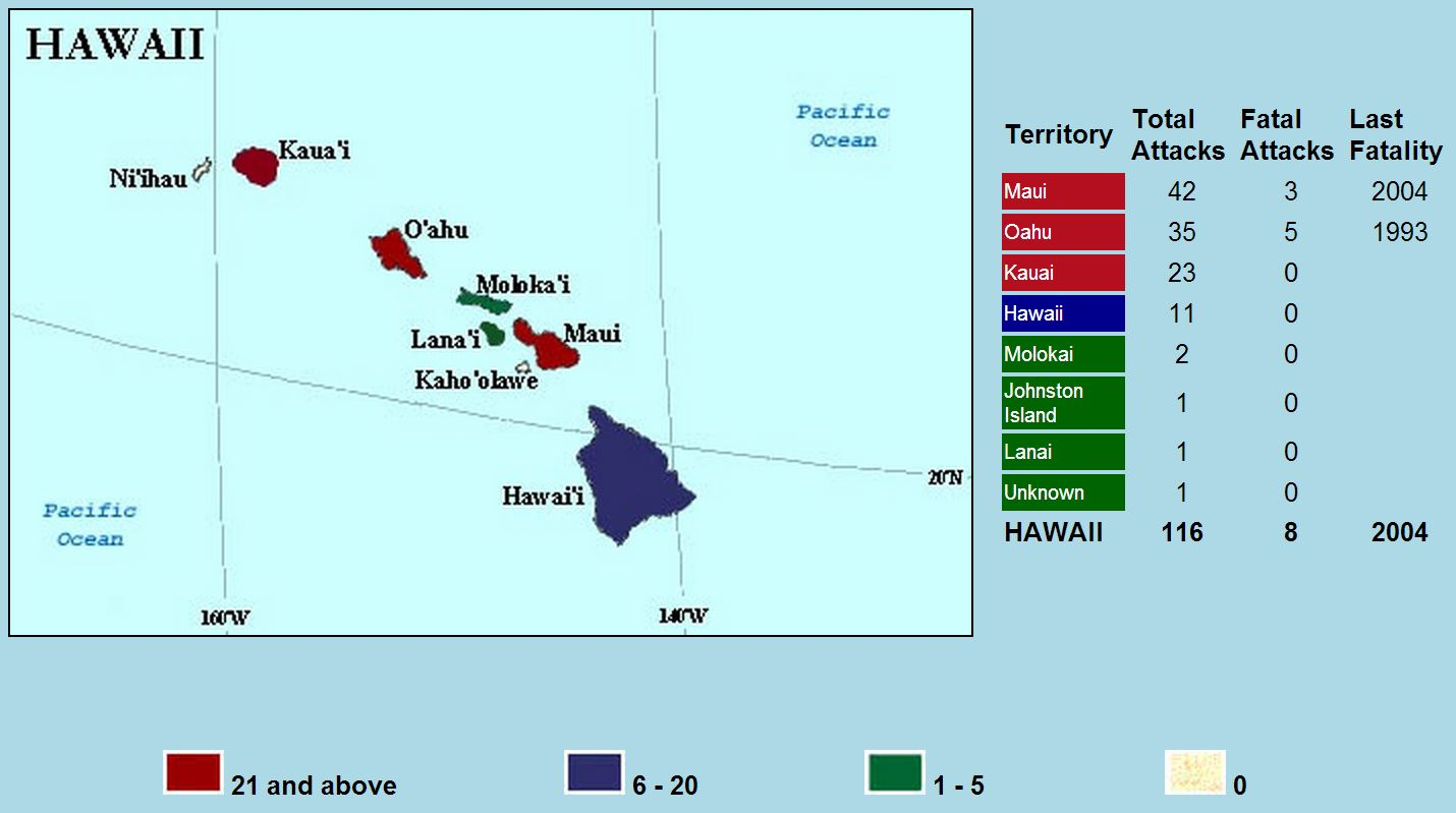 Shark Attack Map Hawaii
