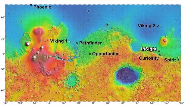 Map of Mars InSight landing zones