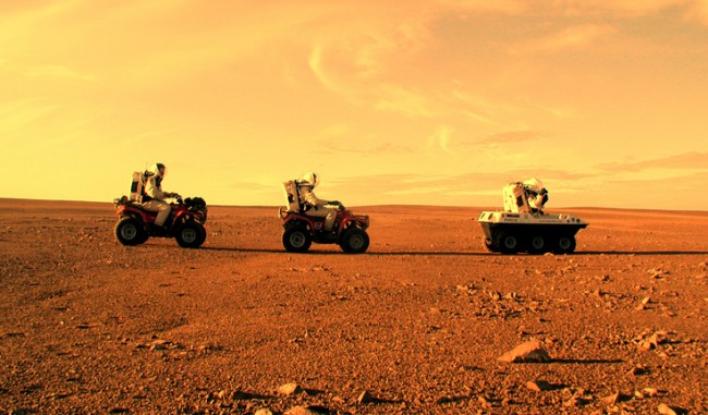 Mars One travelling along Red Planet's surface
