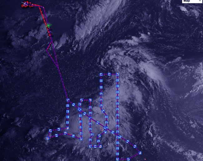 Path adopted by Global Hawk drone during Tropical Gabrielle Storm