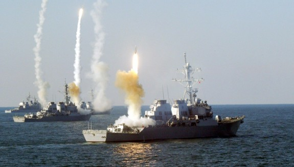 US warships launching missiles