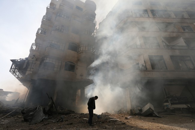 War torn Syria buildings collapsed