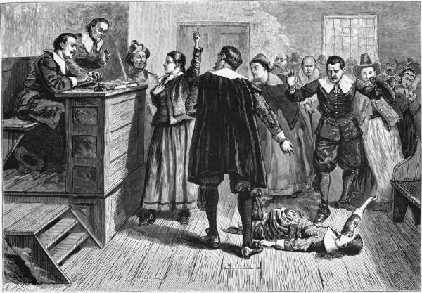 1876 engraving Witchcraft at Salem Village