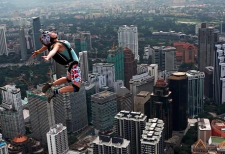 BASE Jumping off Kuala Lumpar Tower