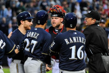 Carlos Gomez of the Brewers has been suspended for a game for his actions against the Braves on Wednesday.