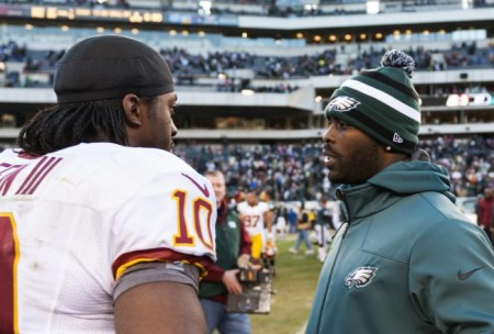 RG III and Mike Vick will take the field when the Eagles meet the Redskins on Monday Night Football tonight.