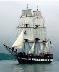 Irish famine ship at full sail