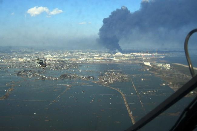 Aerial of Sendai region 2011 tsunami