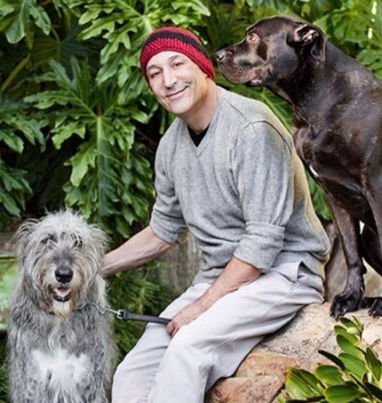 Sam Simon with his dogs