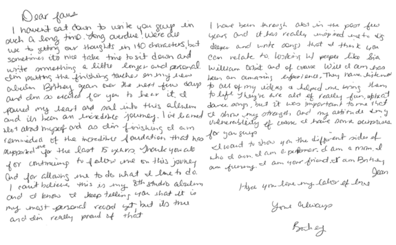 Britney Spears letter to fans about Britney Jean album