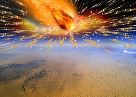 Fiery comet striking earth