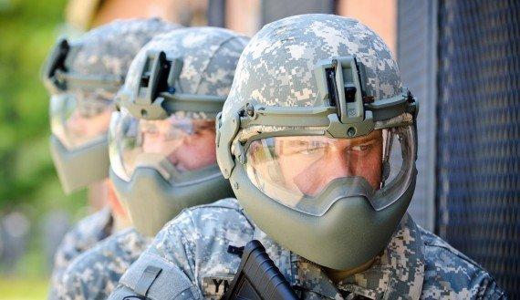 soldiers testing new head gear
