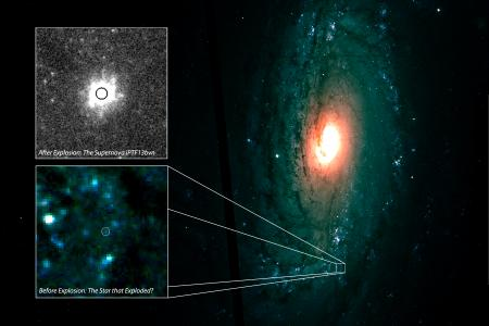Keck II and Hubble telescopes allowed composite image of supernova iptf13bvn and progenitor star