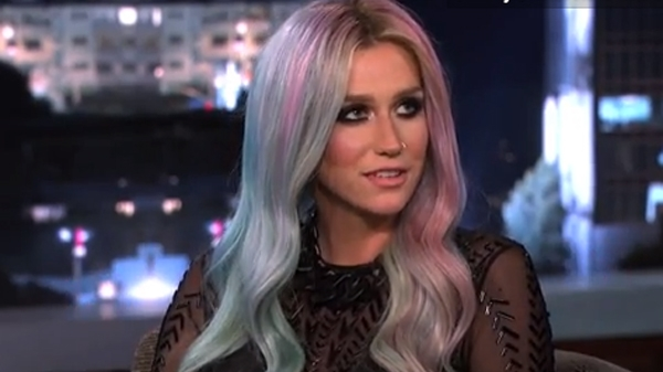 Ke$ha with blue and pink hair