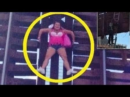 Woman on drawbridge