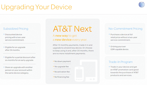 The Next plan is an alternative to AT&T 2-year contracts.
