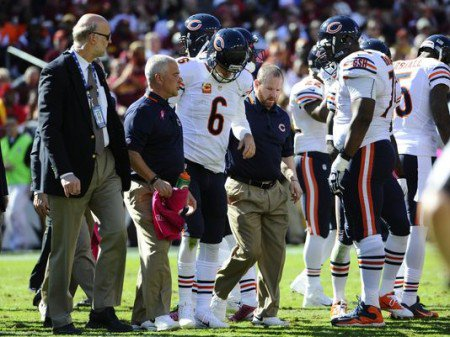 The Chicago Bears will be without Lance Briggs and Jay Cutler (above) for the next month.