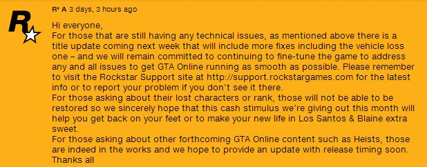 GTA Online Issues Update: Character and Progress Cannot be Restored