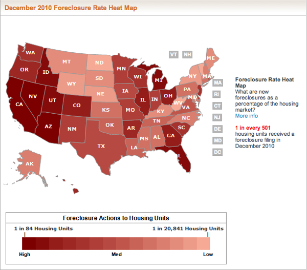 Foreclosure heavy states continued well in 2010 and forward