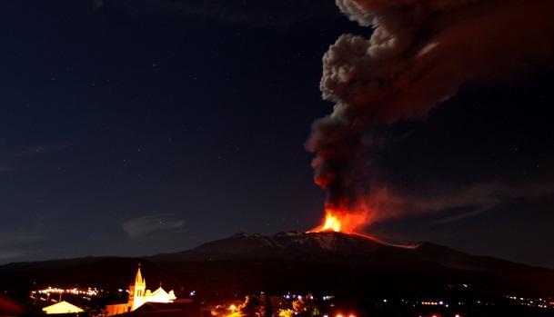 Etna volcano erupts producing beautiful nighttime display