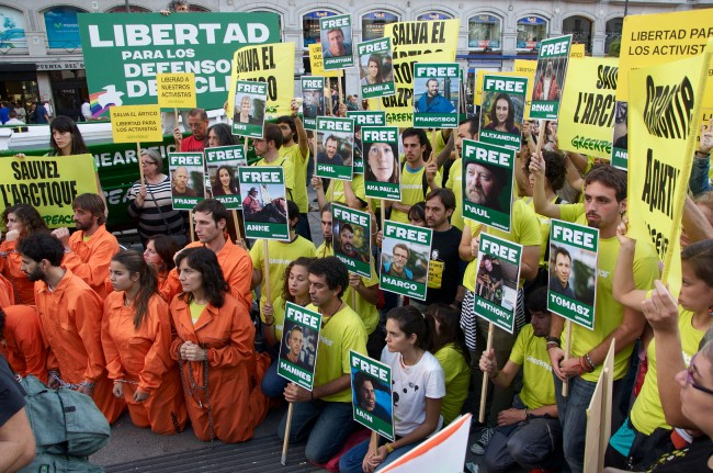 Protesters from around the world lobby for Greenpeace including Shell activists, presidents and Hollywood